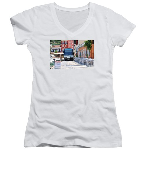 Paxos Island Bus Women's V-Neck T-Shirt