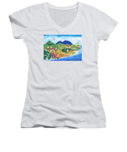 Paysage Du Nord Du Rwanda Women's V-Neck T-Shirt (Junior Cut) by Emmanuel Baliyanga