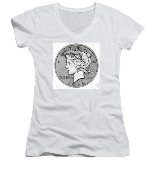 Graphite Peace Dollar Women's V-Neck