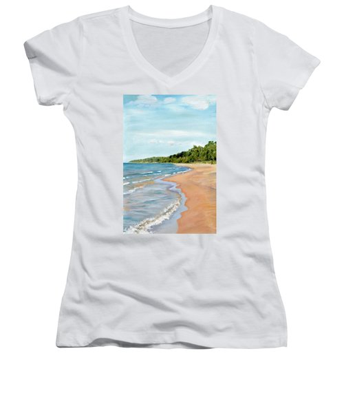 Peaceful Beach At Pier Cove Women's V-Neck