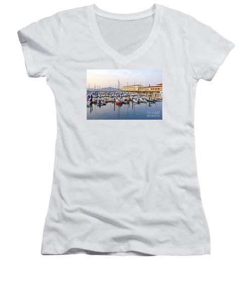 Women's V-Neck T-Shirt (Junior Cut) featuring the photograph Peaceful Marina by Kate Brown