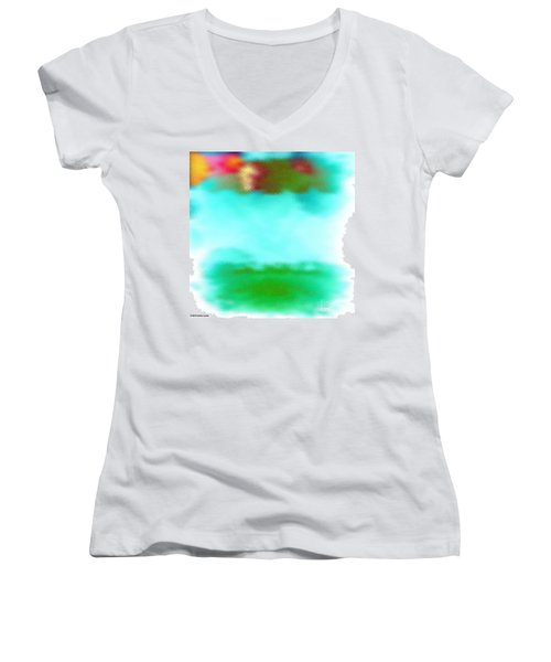 Women's V-Neck T-Shirt (Junior Cut) featuring the digital art Peaceful Noise by Anita Lewis