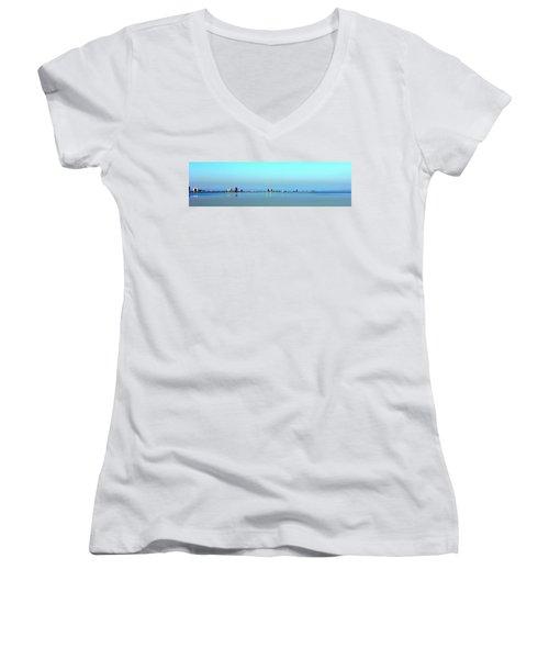 Peaceful Pensacola Beach Women's V-Neck T-Shirt (Junior Cut) by Faith Williams