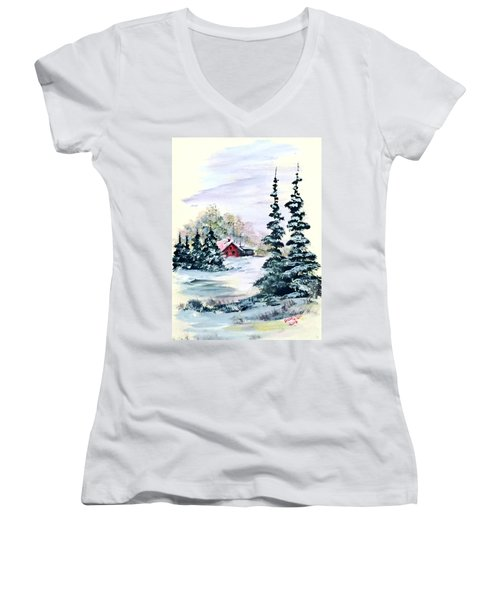 Peaceful Winter Women's V-Neck T-Shirt (Junior Cut) by Dorothy Maier