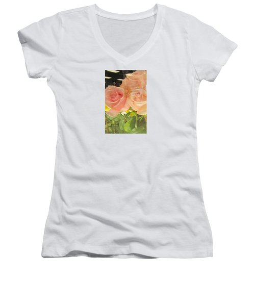 Peach Roses In Greeting Card Women's V-Neck (Athletic Fit)