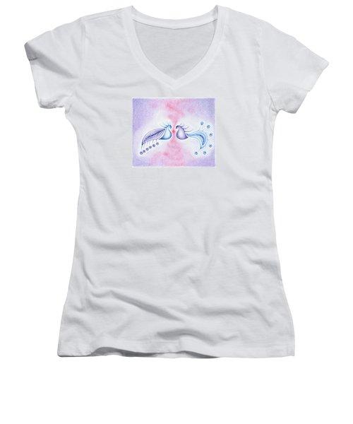 Peacock Dance Women's V-Neck T-Shirt