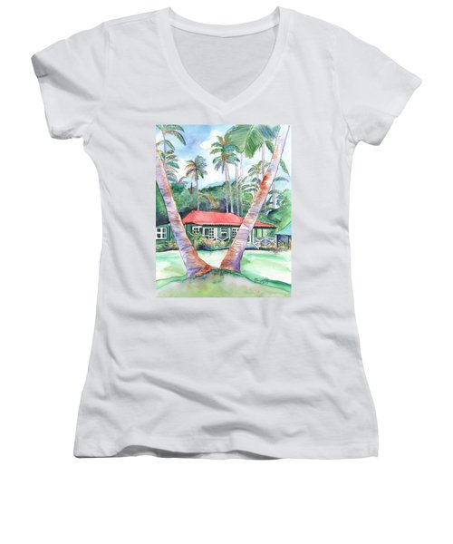 Peeking Between The Palm Trees 2 Women's V-Neck T-Shirt (Junior Cut) by Marionette Taboniar