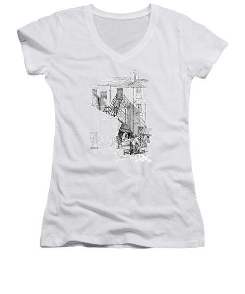 Women's V-Neck T-Shirt (Junior Cut) featuring the drawing Peel Back Street by Paul Davenport