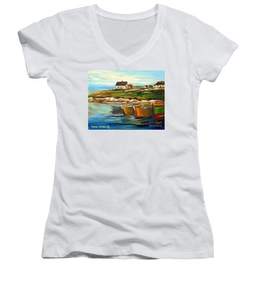 Peggys Cove With Fishing Boats Women's V-Neck T-Shirt