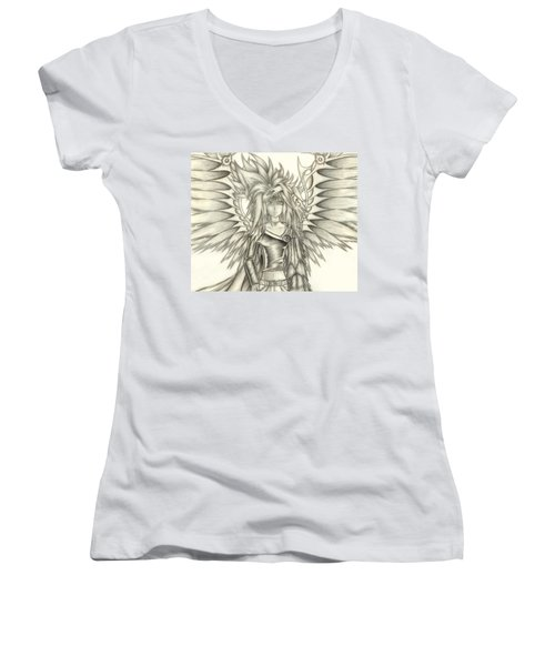 Pelusis God Of Law And Order Women's V-Neck T-Shirt (Junior Cut) by Shawn Dall