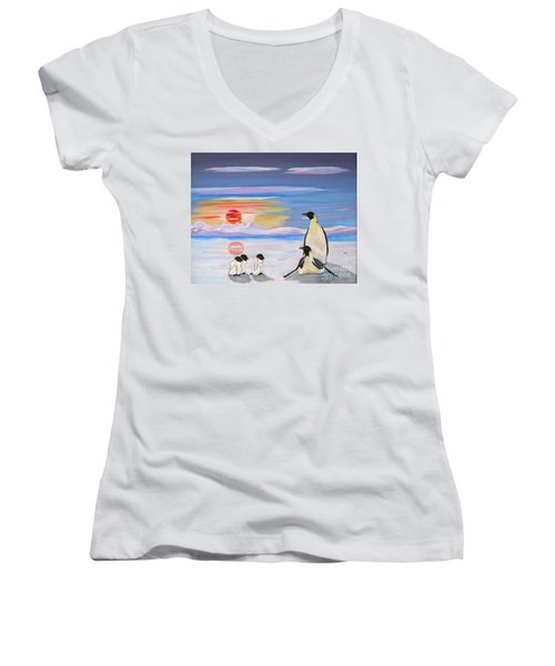 Penguin Family Women's V-Neck T-Shirt (Junior Cut) by Phyllis Kaltenbach