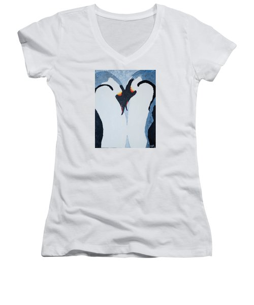 Penguin Love Women's V-Neck (Athletic Fit)