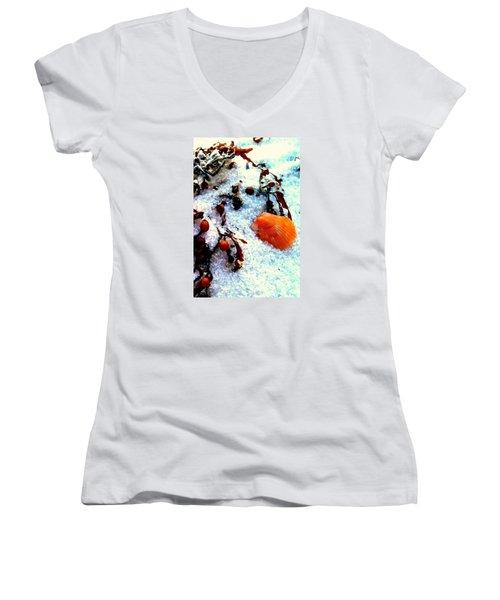 Pensacola Beach Sand Women's V-Neck T-Shirt (Junior Cut) by Faith Williams