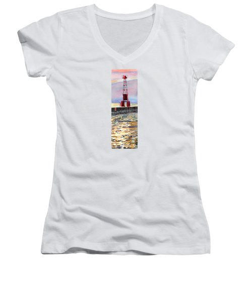Women's V-Neck T-Shirt (Junior Cut) featuring the painting Pentwater South Pier by LeAnne Sowa