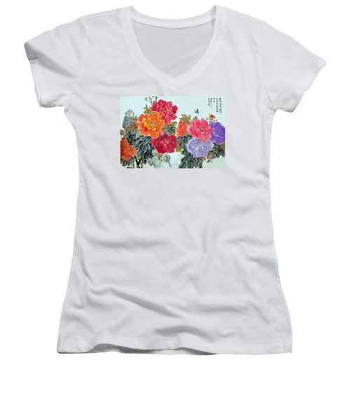 Women's V-Neck T-Shirt (Junior Cut) featuring the photograph Peonies And Birds by Yufeng Wang