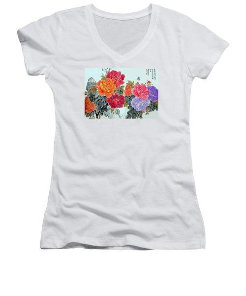 Peonies And Birds Women's V-Neck T-Shirt (Junior Cut) by Yufeng Wang