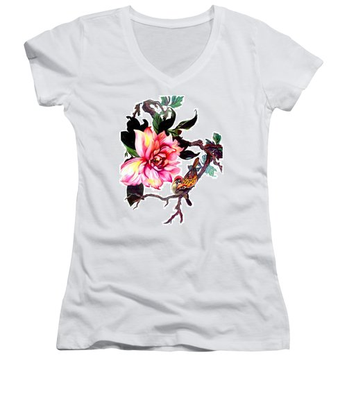 Peony And Birds Women's V-Neck (Athletic Fit)