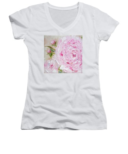 Women's V-Neck T-Shirt featuring the painting Peony by Judith Rhue