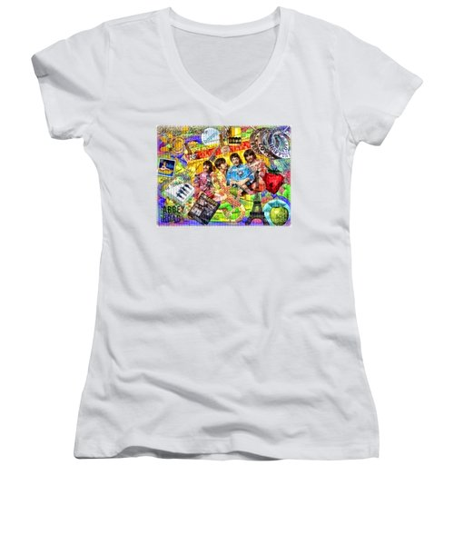 Pepperland Women's V-Neck T-Shirt (Junior Cut) by Mo T