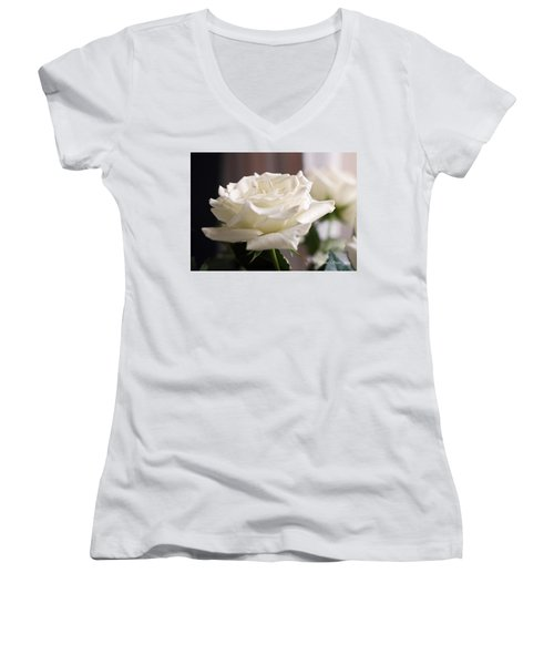 Perfect White Rose Women's V-Neck T-Shirt (Junior Cut) by Connie Fox