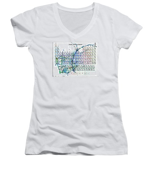 Periodic Table Colorful Liquid Splash Women's V-Neck (Athletic Fit)