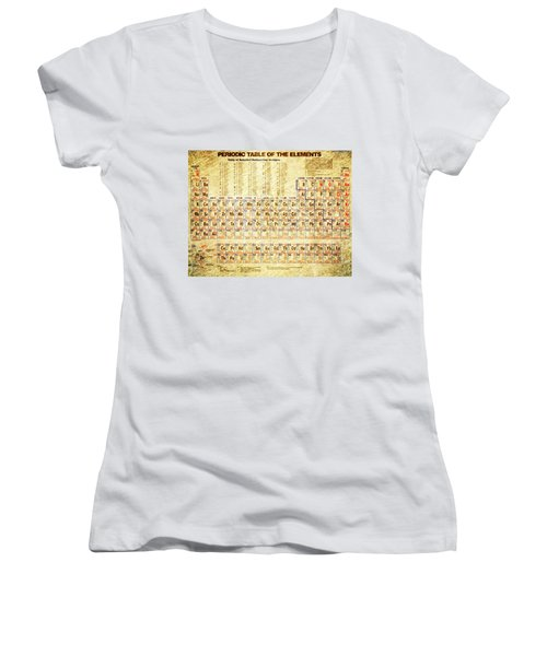 Periodic Table Of The Elements Vintage White Frame Women's V-Neck (Athletic Fit)
