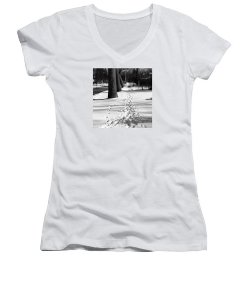 Pet Prints In The Snow Women's V-Neck T-Shirt (Junior Cut)