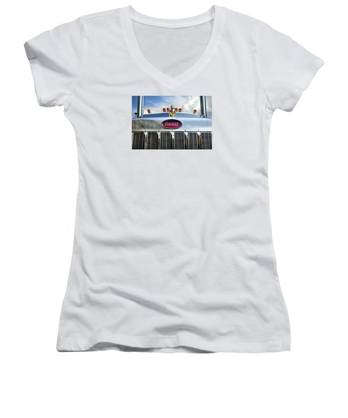Peterbilt Women's V-Neck T-Shirt (Junior Cut) by Theresa Tahara