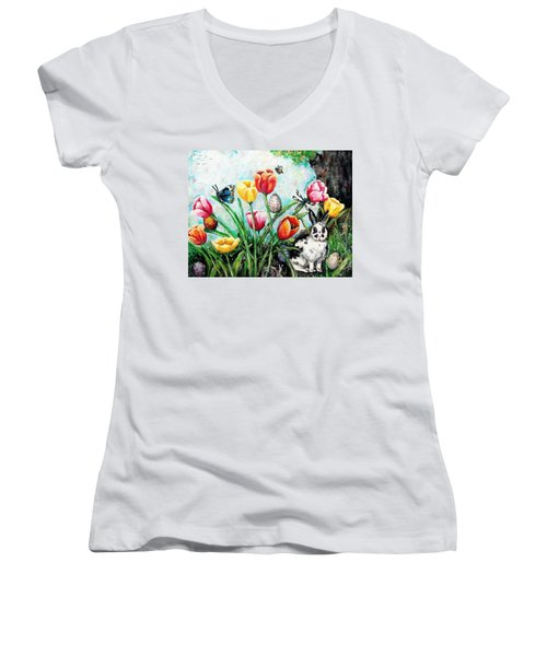 Women's V-Neck T-Shirt (Junior Cut) featuring the painting Peters Easter Garden by Shana Rowe Jackson