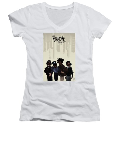 Pharcyde -passing Me By 1 Women's V-Neck T-Shirt (Junior Cut) by Nelson dedos Garcia