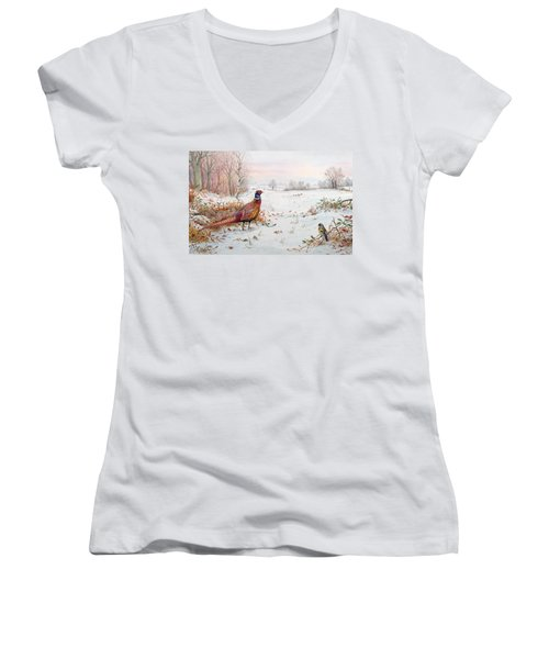 Pheasant And Bramblefinch In The Snow Women's V-Neck T-Shirt (Junior Cut) by Carl Donner