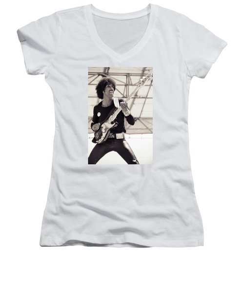 Phil Lynott Of Thin Lizzy Black Rose Tour At Day On The Green 4th Of July 1979 - Unreleased No 2 Women's V-Neck (Athletic Fit)