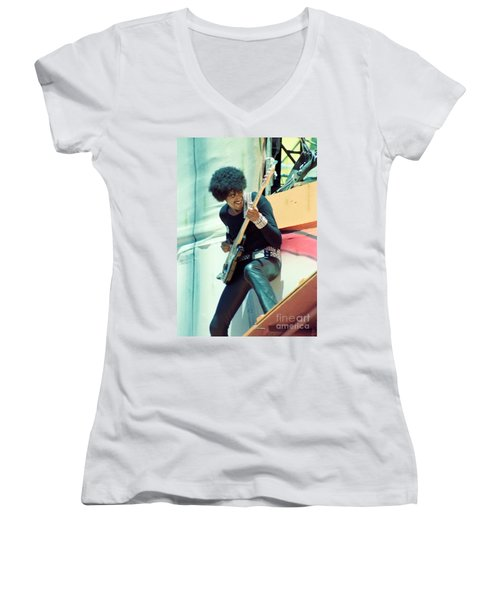 Phil Lynott Of Thin Lizzy - Black Rose Tour Day On The Green 7-4-79  Women's V-Neck (Athletic Fit)