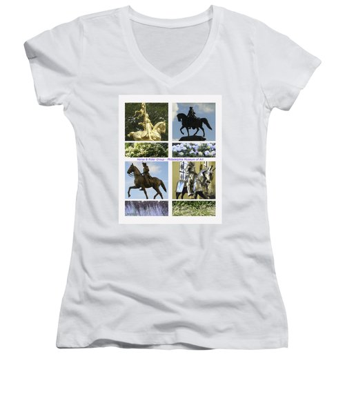 Women's V-Neck T-Shirt (Junior Cut) featuring the photograph Philadelphia Museum Of Art by Mary Ann Leitch
