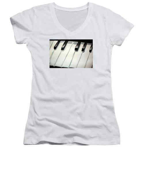 Piano Keys Women's V-Neck T-Shirt (Junior Cut) by Marisela Mungia