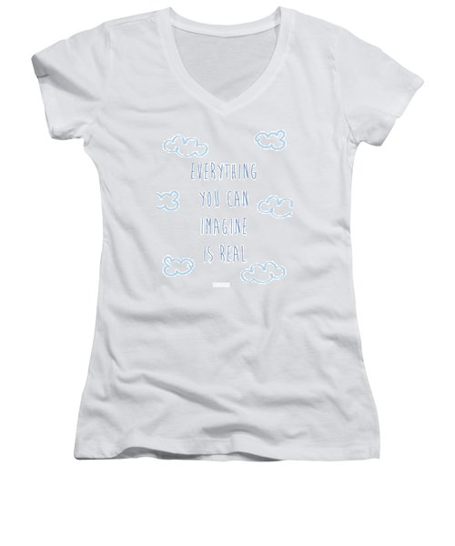 Picasso Quote Women's V-Neck T-Shirt (Junior Cut) by Gina Dsgn