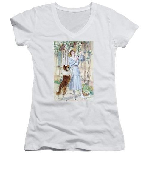 Picking Roses Women's V-Neck T-Shirt (Junior Cut) by William Henry Margetson