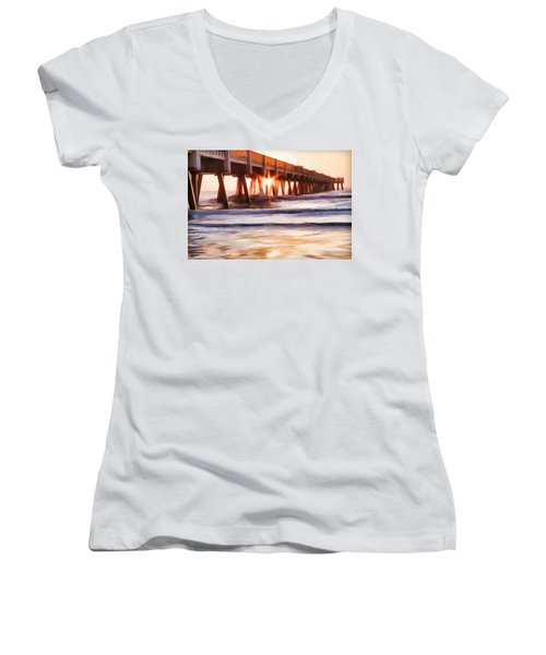 Women's V-Neck featuring the photograph Pier Sunrise Too by Alice Gipson