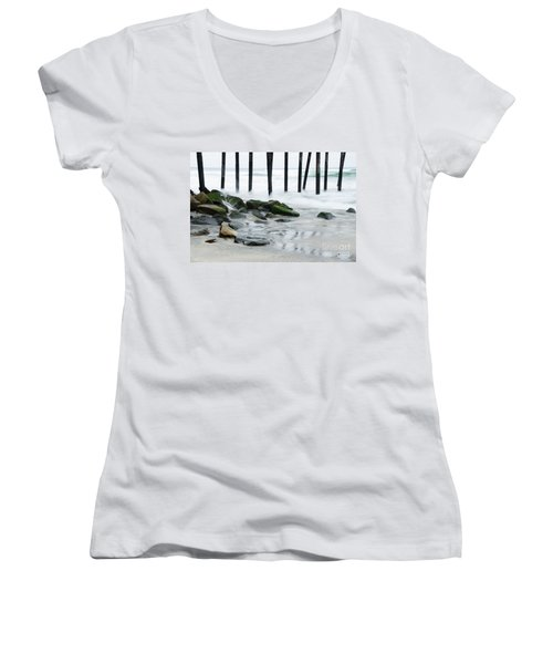 Pilings At Oceanside Women's V-Neck T-Shirt (Junior Cut) by Vivian Christopher