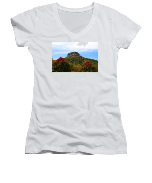Pilot Mountain From 52 Women's V-Neck T-Shirt (Junior Cut) by Kathryn Meyer