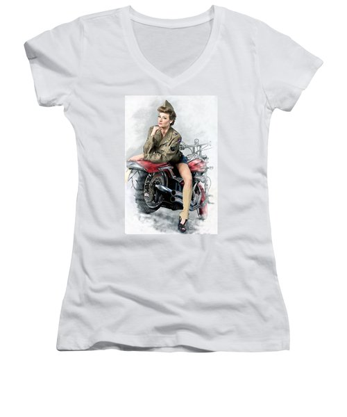 Pin-up Biker  Women's V-Neck (Athletic Fit)