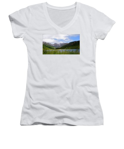 Piney Lake In Upper Vail Women's V-Neck (Athletic Fit)