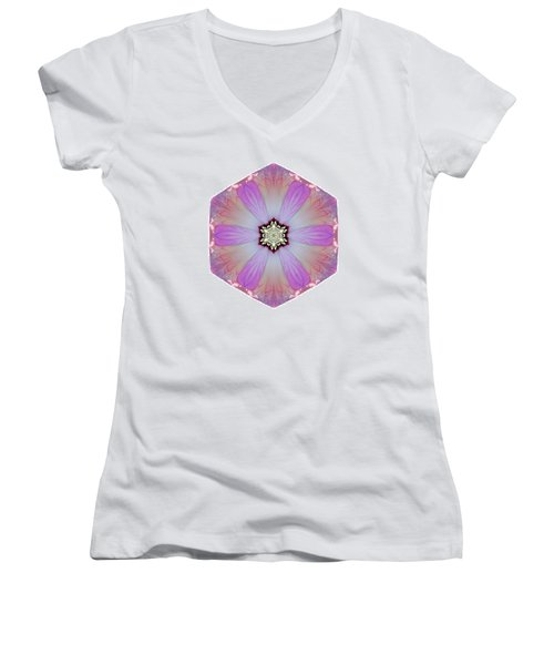Pink And White Hibiscus Moscheutos I Flower Mandala White Women's V-Neck