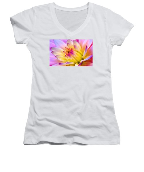 Pink And White Water Lily Women's V-Neck