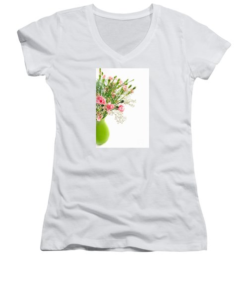 Pink Carnation Flowers Women's V-Neck T-Shirt (Junior Cut) by Vizual Studio