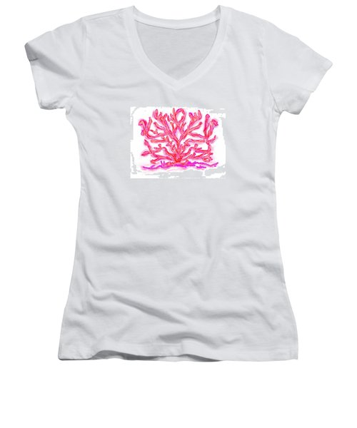 Women's V-Neck T-Shirt (Junior Cut) featuring the digital art Pink Coral by Christine Fournier