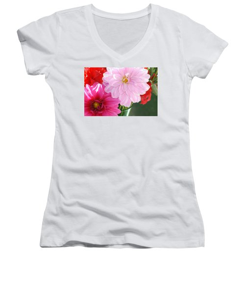 Pink Dahlias In The Morning Women's V-Neck (Athletic Fit)