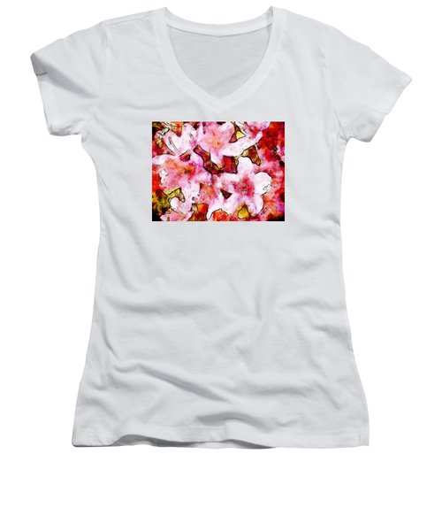 Women's V-Neck T-Shirt (Junior Cut) featuring the painting Pink Flowers 2 by Greg Collins