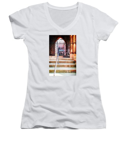 Pink Goes To Church Women's V-Neck T-Shirt (Junior Cut) by Joseph J Stevens