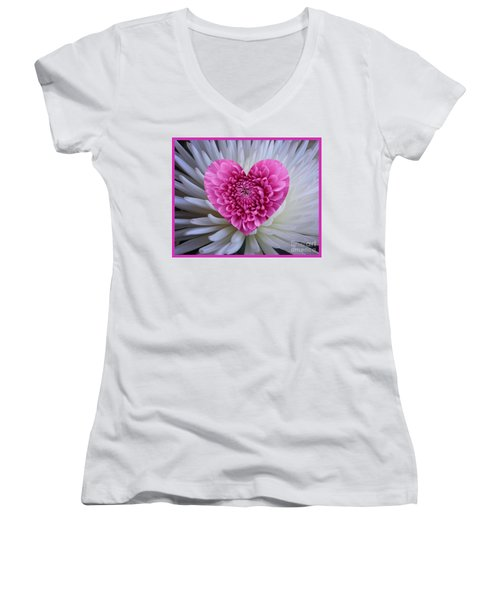 Pink Heart On White Women's V-Neck (Athletic Fit)
